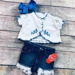 Baby girl 12-18m NWT denim short + sweater
